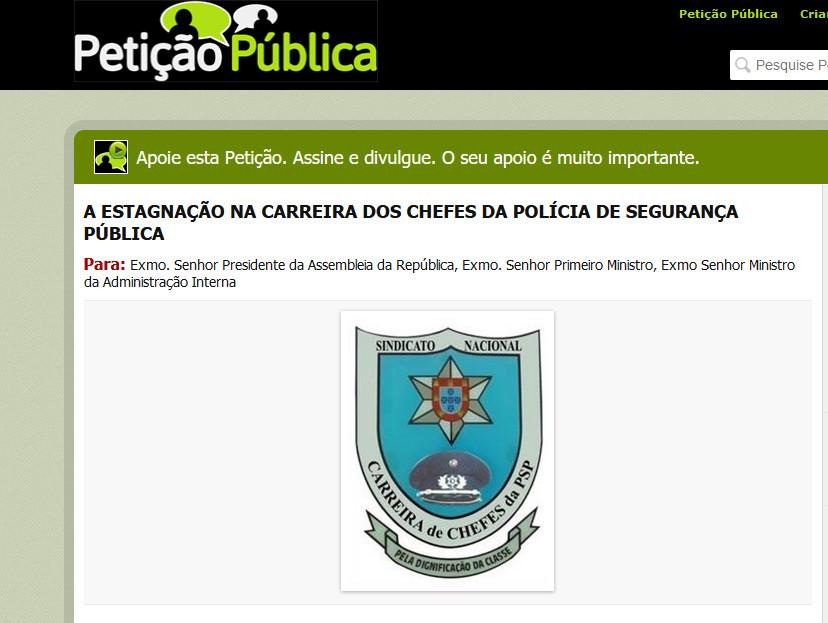 Petição pública: A estagnação na carreira dos chefes da PSP (Resolução da AR 162/2021)